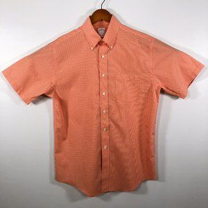Brooks Brothers Salmon Pink Gingham Check Shirt M